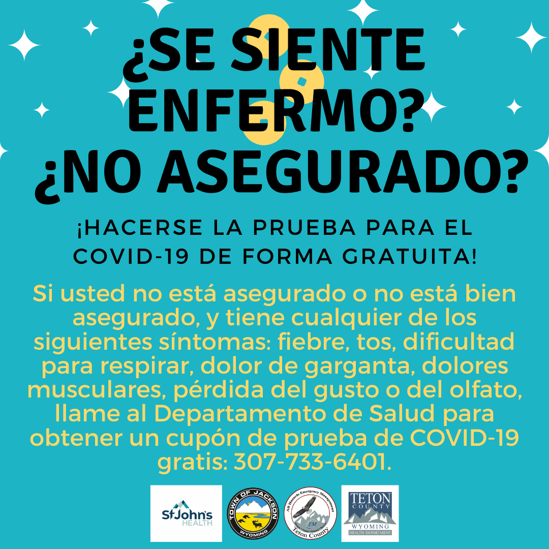 Spanish information about free Covid-19 testing for uninsured persons by St. John's