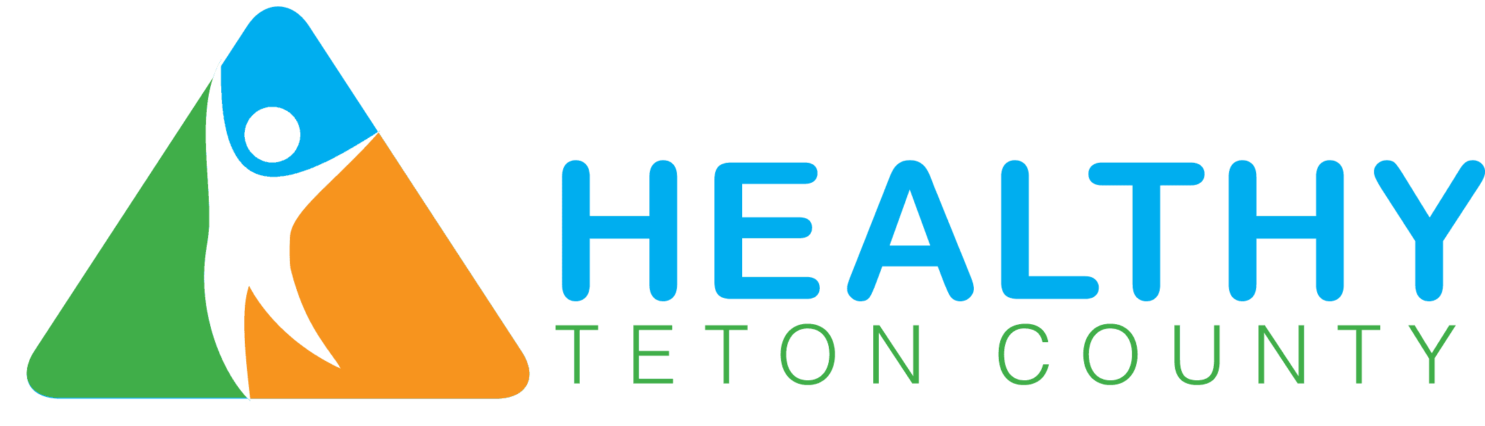 horizontal Healthy Teton County Logo with orange, green, and blue colors